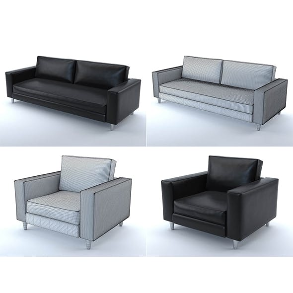 Scott sofa and armchair (black leather) - 3DOcean Item for Sale