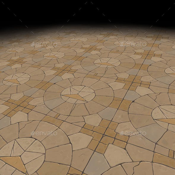 Medieval floor Tile 1 (hand painted)