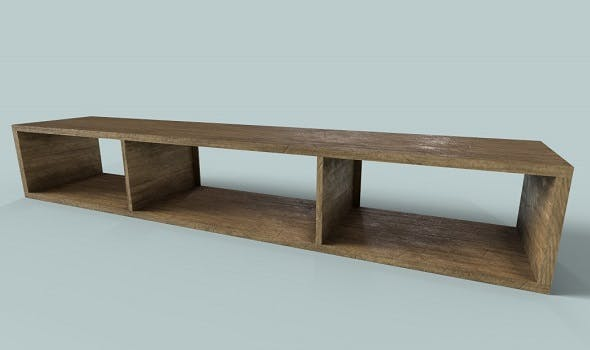Low Polygon Wooden Table-Shelf - 3DOcean Item for Sale