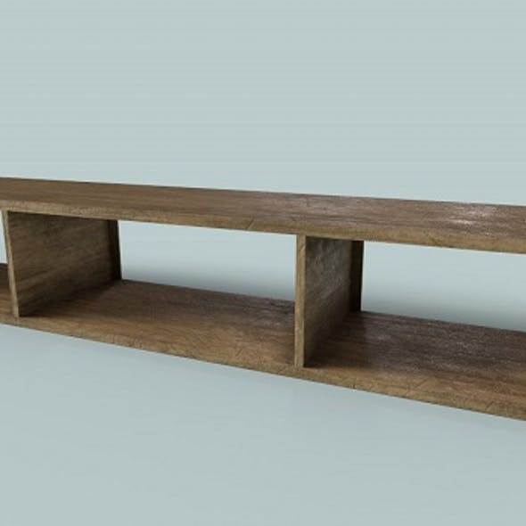 Low Polygon Wooden Table-Shelf