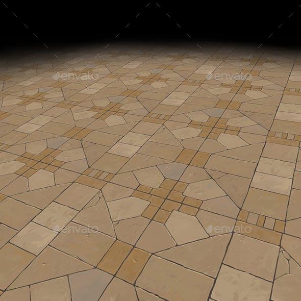 Medieval floor Tile 1 version 2 (hand painted)