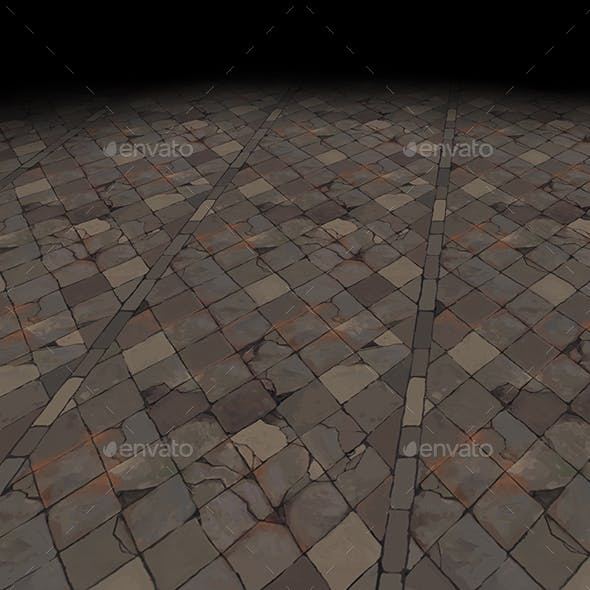 Medieval floor Tile 4 (hand painted)