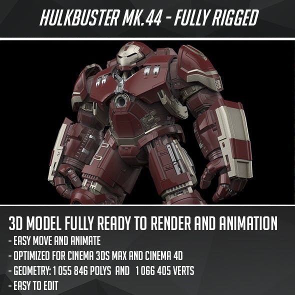 Iron Man Mk 44 HulkBuster - Fully Rigged by CactusModels | 3DOcean