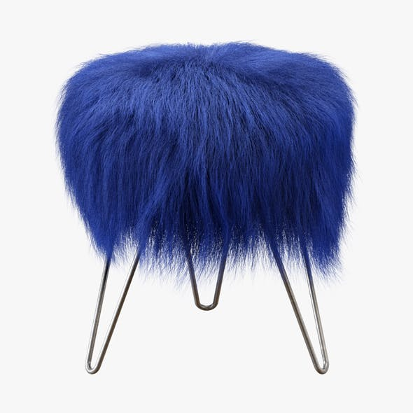 Blue Fake Fur Whimsical Stool - 3DOcean Item for Sale