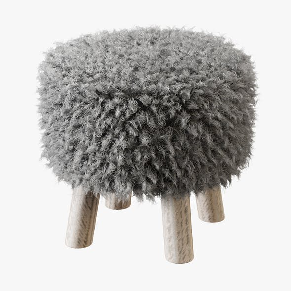 Luxury Gotland Sheepskin Stool - 3DOcean Item for Sale