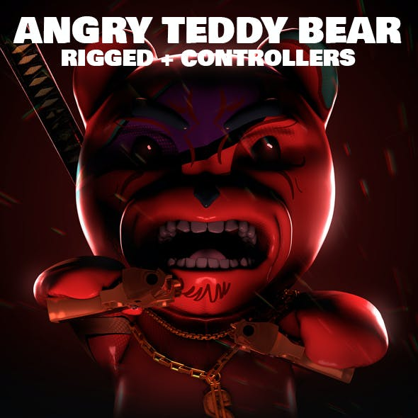 Angry Teddy Bear Rigged 3D Character