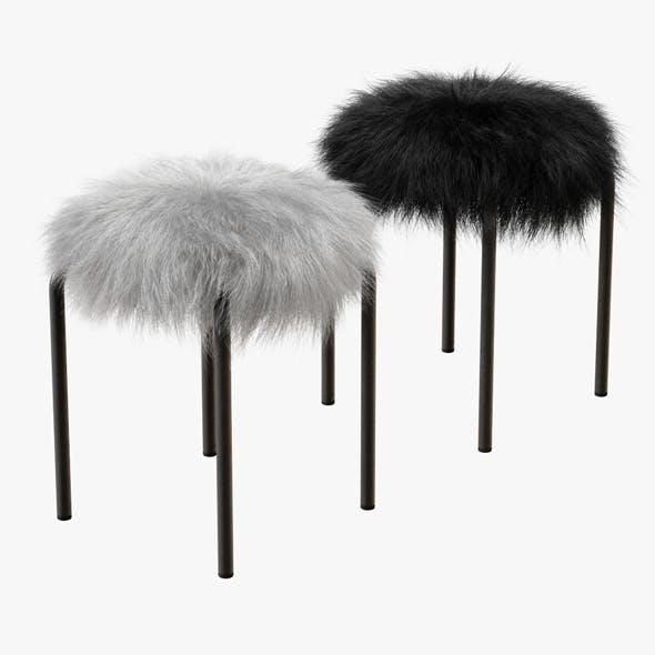Plush Fur Stools Faux Fur - 3DOcean Item for Sale
