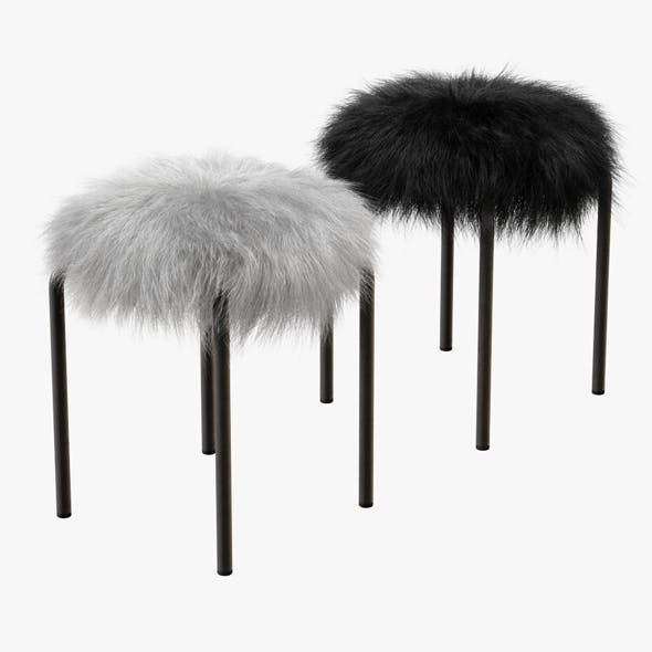 Plush Fur Stools Faux Fur