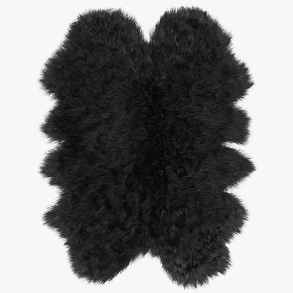 Sheepskin Black Rug - 3DOcean Item for Sale