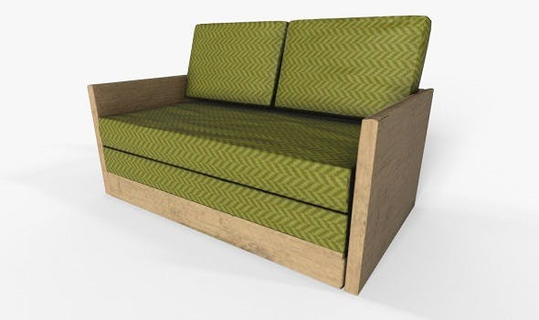 Wooden 2 Seater Couch - 3DOcean Item for Sale