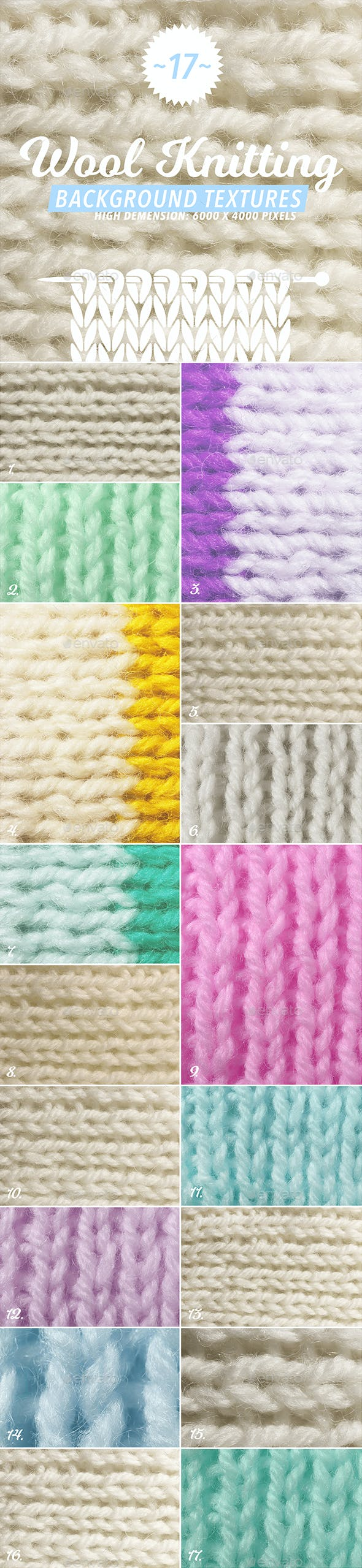 17 Wool Knitting Textures - 3DOcean Item for Sale