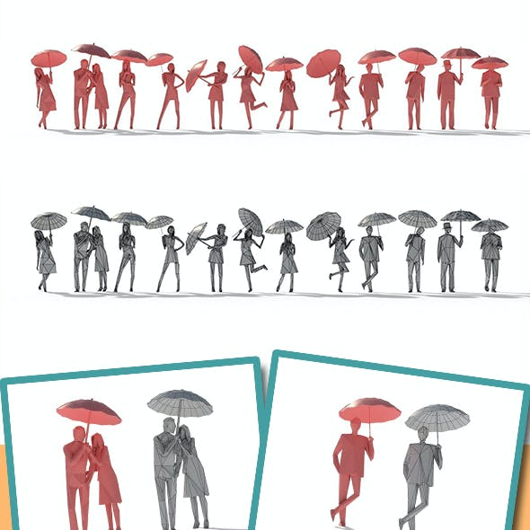 Low Poly Posed People Pack 11 - Umbrella