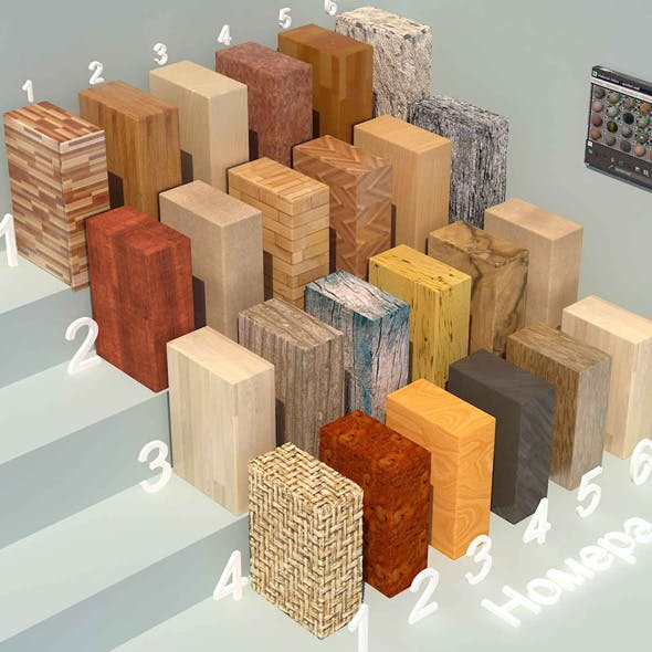 Wood materials. Set-2 (24 materials) - 3DOcean Item for Sale