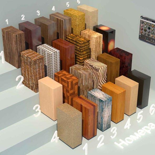 Wood materials. Set-3 (24 materials)