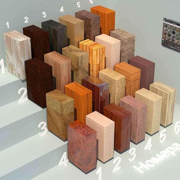 Wood materials. Set-5 (24 materials) - 3DOcean Item for Sale