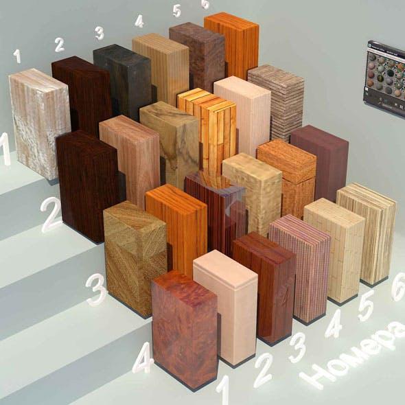 Wood materials. Set-5 (24 materials)