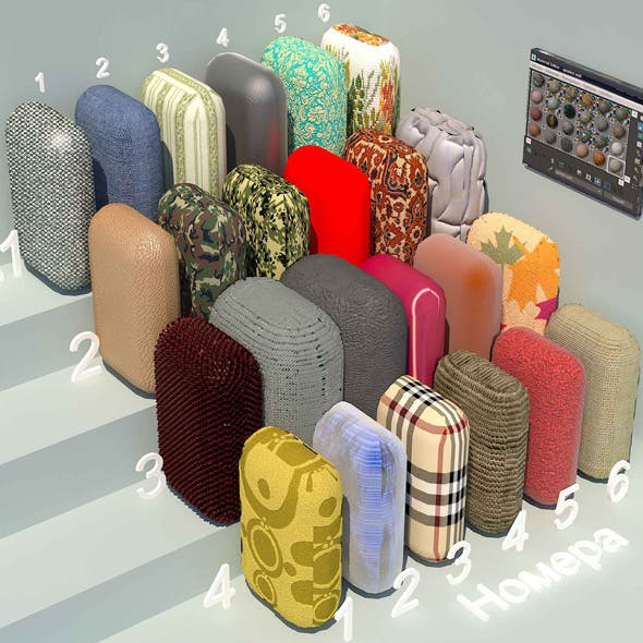 fabric materials. Set-1 (24 materials) - 3DOcean Item for Sale