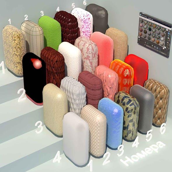 fabric materials. Set-3 (24 materials)