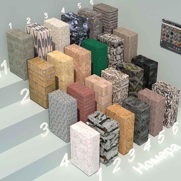 material stone - 3 (24 materials) - 3DOcean Item for Sale