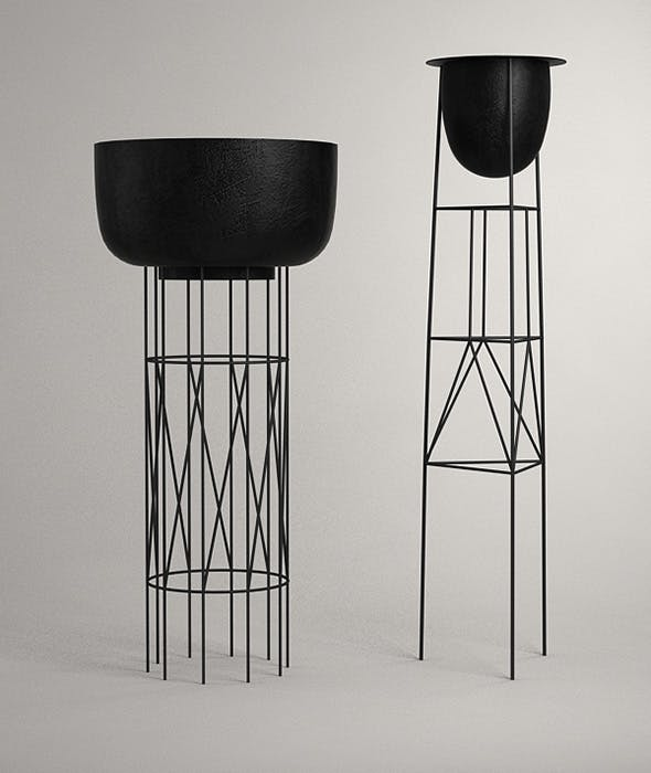Wire Basket Plant Stands - 3DOcean Item for Sale