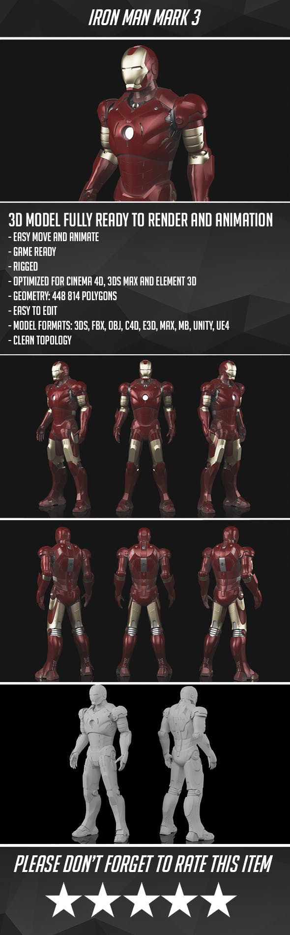 Iron Man Mark 3 - Game Ready - 3DOcean Item for Sale