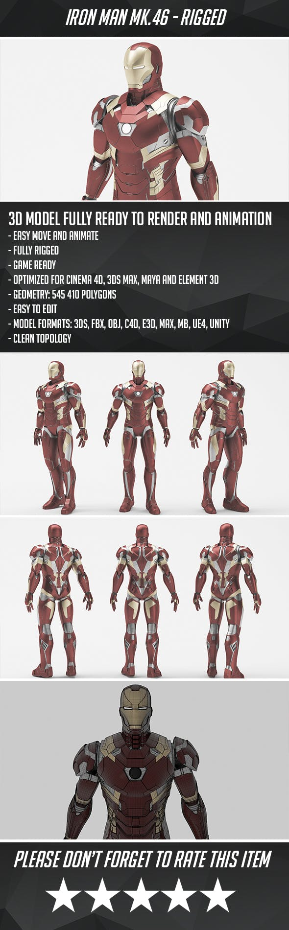 Iron Man Mark 46 - Game ready - 3DOcean Item for Sale