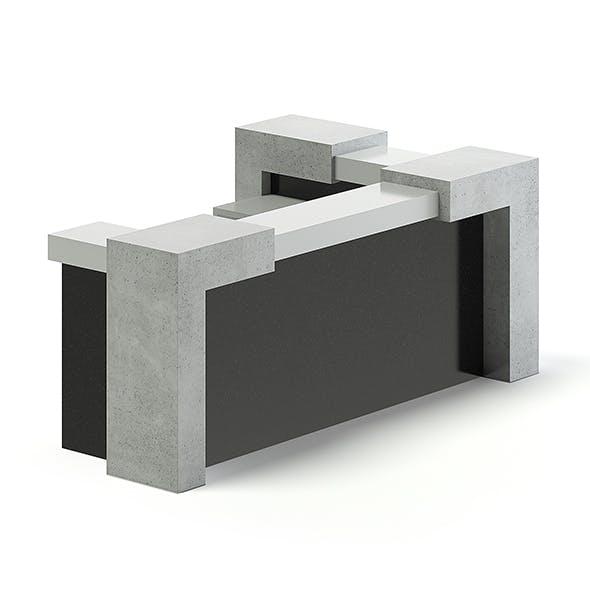 Black and Grey Reception Desk 3D Model - 3DOcean Item for Sale