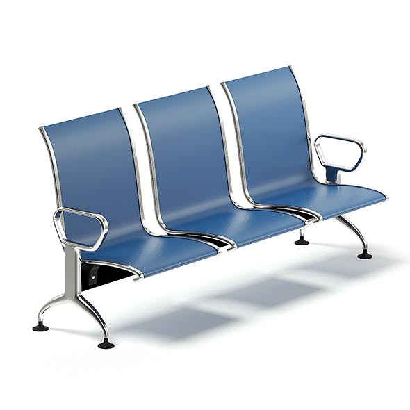 Blue Waiting Chairs 3D Model