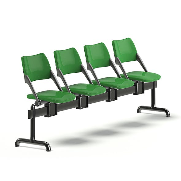 Green Waiting Chairs 3D Model - 3DOcean Item for Sale