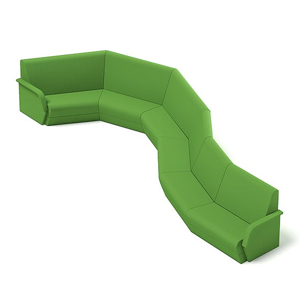 Green Waiting Sofa 3D Model