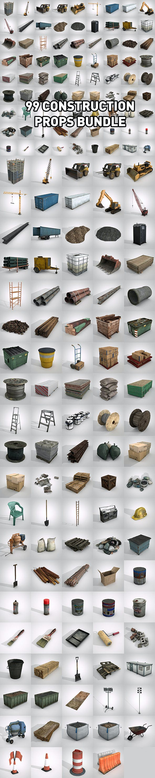99 Construction Props Bundle - 3DOcean Item for Sale