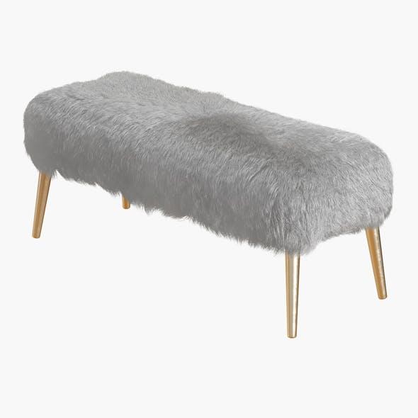 Churra White Sheepskin Bench