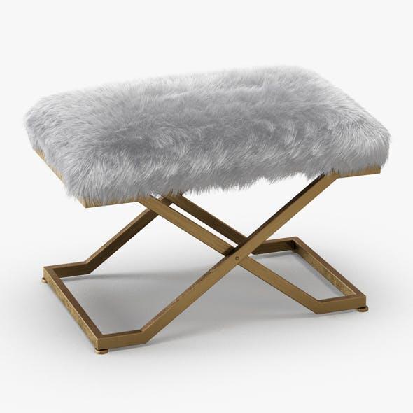 Farran Faux Fur X-Frame Bench - 3DOcean Item for Sale