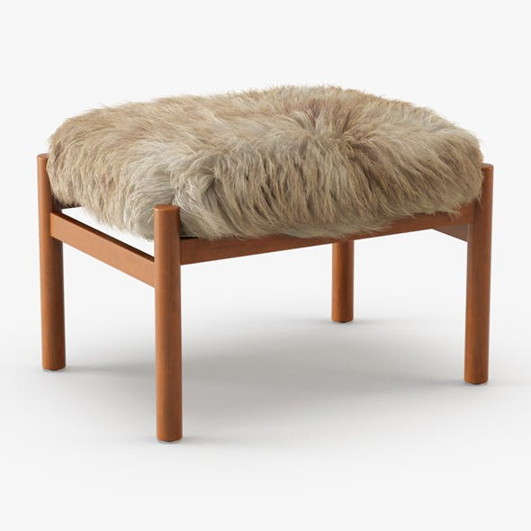 Modern Teak Stool Sheepskin - 3DOcean Item for Sale