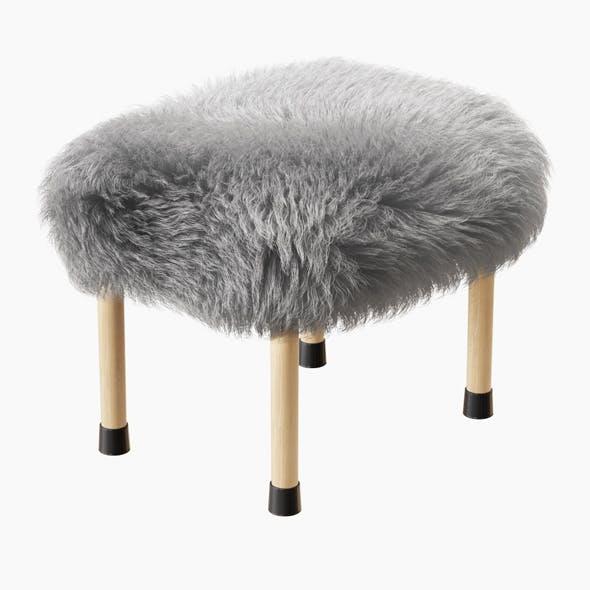 Nerys Sheepskin Footstool - 3DOcean Item for Sale