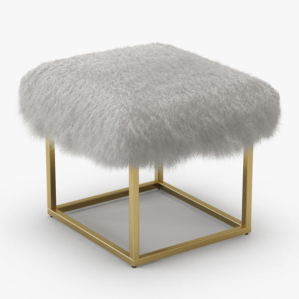 Reno Gold Sheepskin Ottoman - 3DOcean Item for Sale