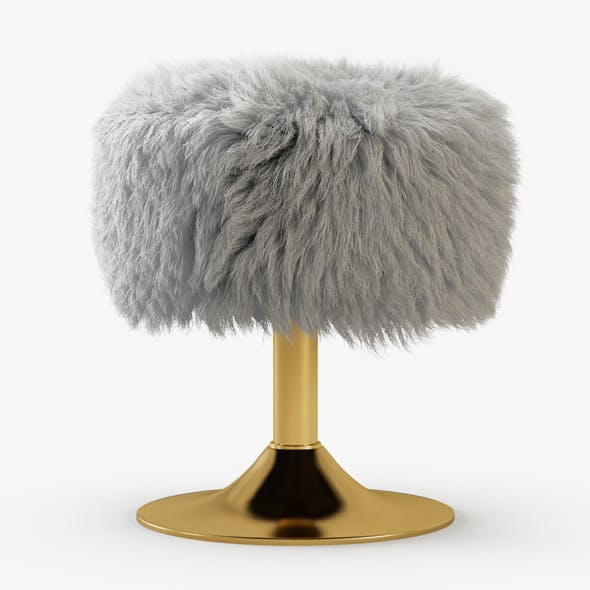 White Faux Fur Stool - 3DOcean Item for Sale