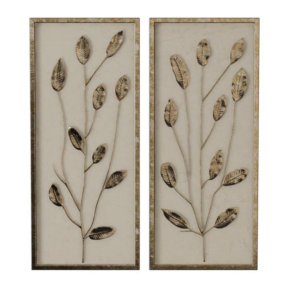 Gold Leaf and Linen Panels Artwork - 3DOcean Item for Sale
