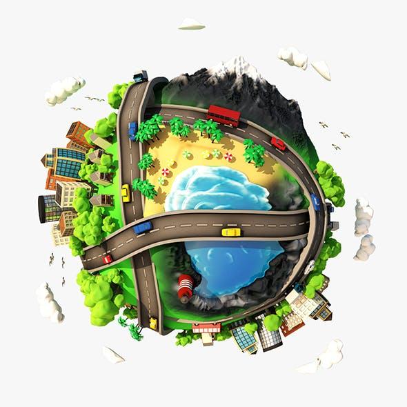 3D Cartoon Planet City