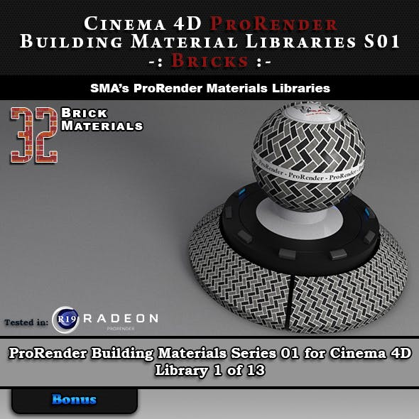 32 x ProRender PBR Brick Materials for Cinema 4D