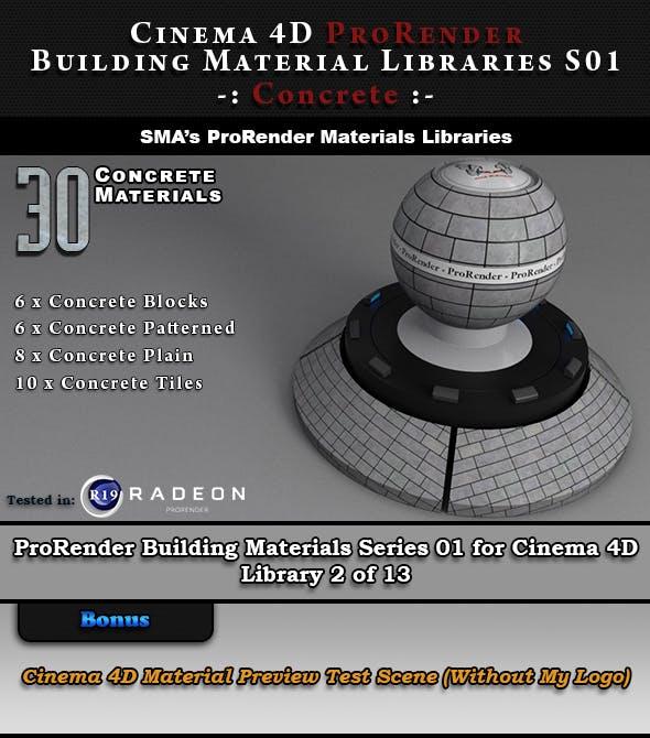 30 x ProRender PBR Concrete Materials for Cinema 4D - 3DOcean Item for Sale