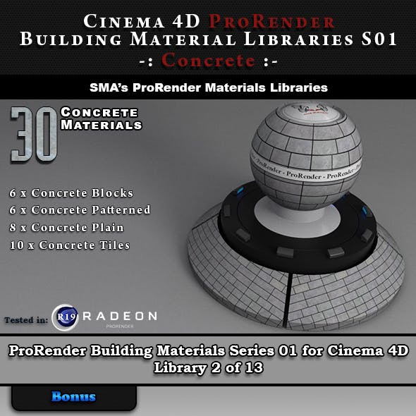 30 x ProRender PBR Concrete Materials for Cinema 4D