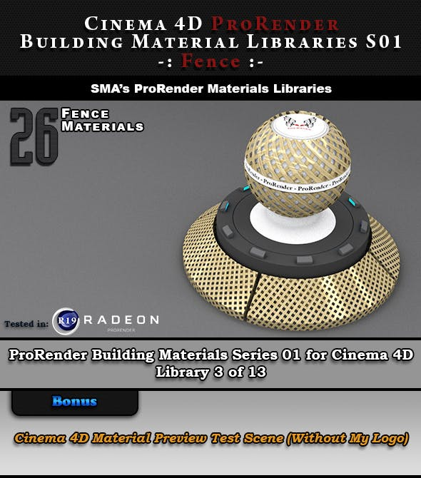 26 x ProRender PBR Fence Materials for Cinema 4D - 3DOcean Item for Sale