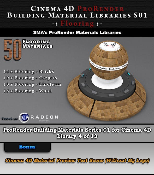 50 x ProRender PBR Flooring Materials for Cinema 4D - 3DOcean Item for Sale