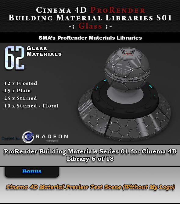62 x ProRender PBR Glass Materials for Cinema 4D - 3DOcean Item for Sale