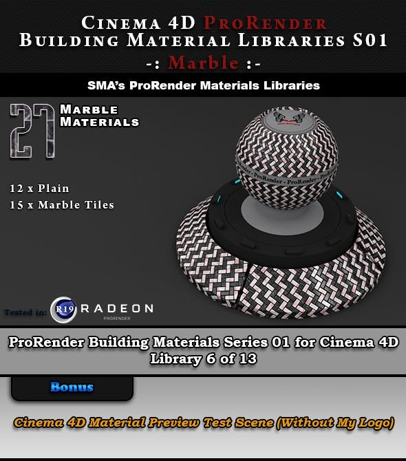 27 x ProRender PBR Marble Materials for Cinema 4D - 3DOcean Item for Sale
