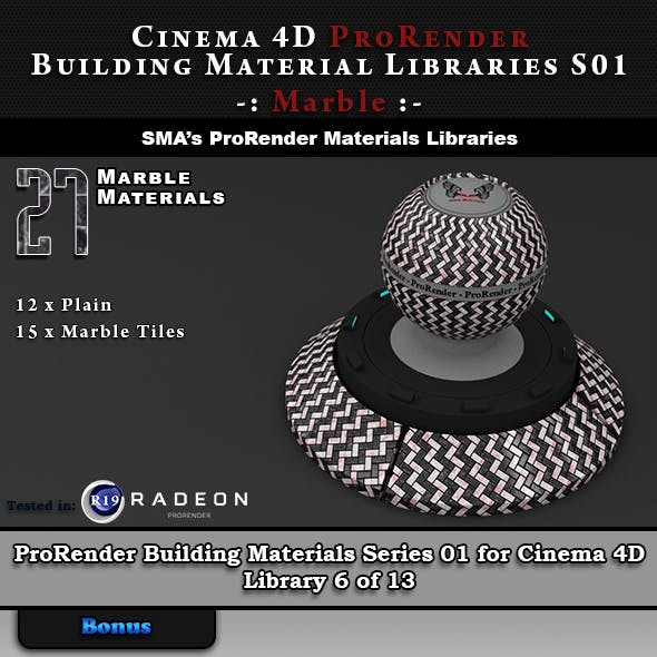 27 x ProRender PBR Marble Materials for Cinema 4D