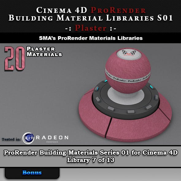 20 x ProRender PBR Plaster Materials for Cinema 4D