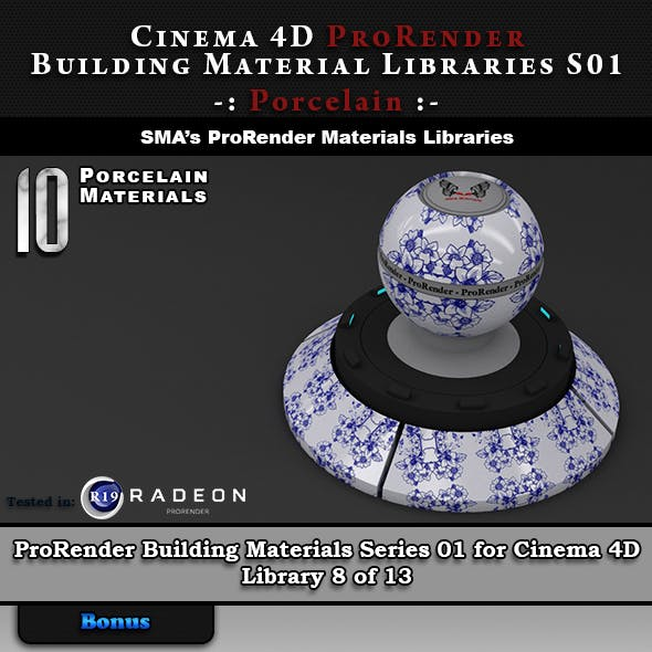 10 x ProRender PBR Porcelain Materials for Cinema 4D