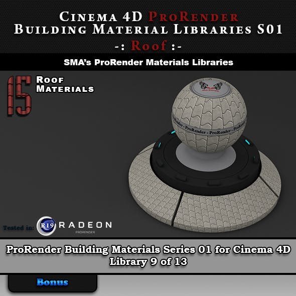 15 x ProRender PBR Roof Materials for Cinema 4D